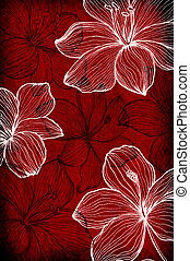 Hand drawn flowers on paper background