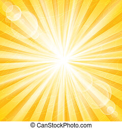 Abstract Sun Background Vector Illustration. Divergent rays...