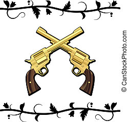 Gold Crossed Guns isolated on white background. Vector...