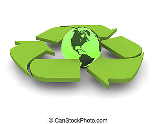 Recycling symbol with Earth