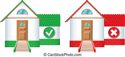 House icons accepted and rejected - House icons with...