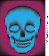 Sliced gradient skull - Sliced blue and purple gradient...