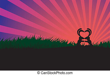 Kissing rabbits couple silhouette