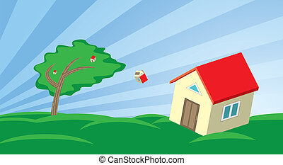 Growing house in the wind - Illustration with falling and...