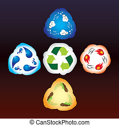 Four elements as recycle signs - Four elements of nature as...