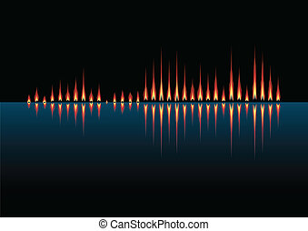 Music wave as coastal fires - Music wave made of fires on...