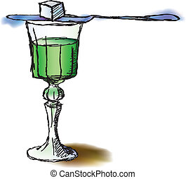 Glass of absinthe - Hand drawn watercolor and ink styled...