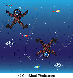 Divers seamless pattern - Seamless pattern of divers in deep...