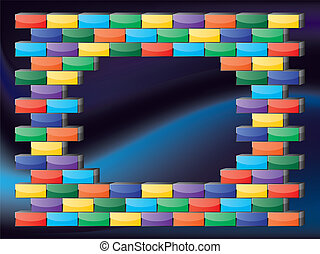 Retro gaming frame with colorful glossy bricks