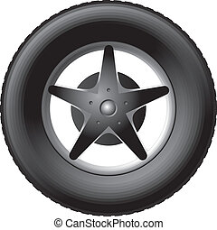 Car wheel with five-pointed star on the rim