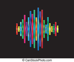 Colorful waveform - Abstract waveform with shiny rainbow...