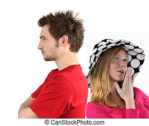 jovem, par, tendo, argumento