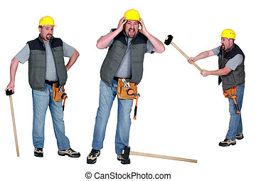 Multiple shot of builder with sledgehammer