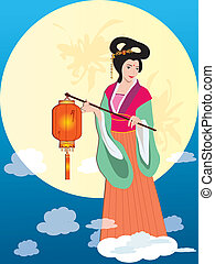 Mid Autumn Festival - Asian Fairy Lady with lantern in Mid...