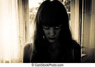 Horror Scene of a creepy Woman