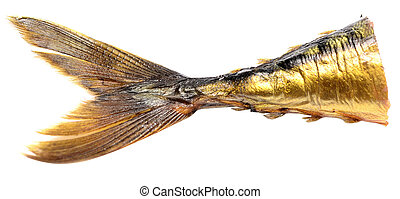 fish tail - smoked fish tail isolated on white