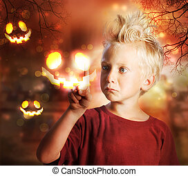 Boy Touching Halloween Ghost - Young Blond Boy Touching...