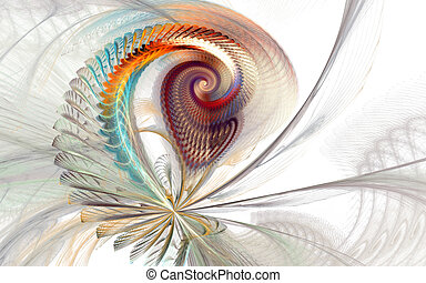 Fractal white tail - 3d abstract tail pattern for...