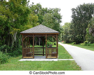 Gazebo on Bike Trail - This Florida scene features an...