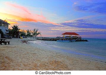 Jamaican sunset - A beautiful sunset at a jamaican resort...