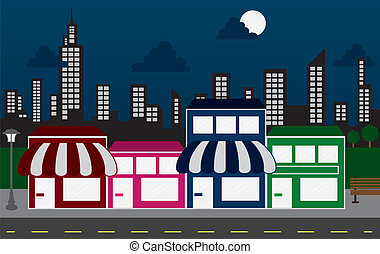 Store Fronts and Skyline Buildings - Store front strip mall...