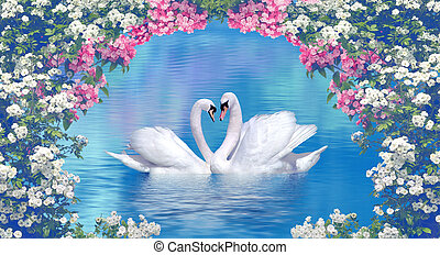 Two swans framed with blooming flowers - Two graceful swans...