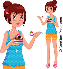 girl eating cake