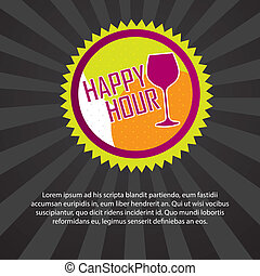 happy hour tag with space for copy over black background...
