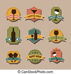 happy hour tags over brown background. vector illustration