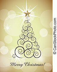 christmas card - merry christmas card with tree over gold...
