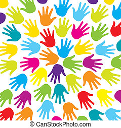 colorful hands - colorful hads over white background vector...