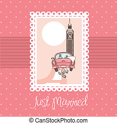 just married - pink just married card, background vector...