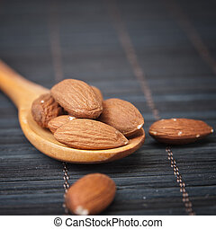 Almonds in a wooden spoon
