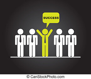 success - businesman over black background vector...