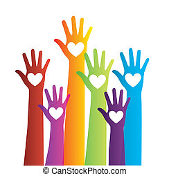 colorful hands with hearts over white background vector...