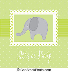 baby shower card - green baby shower card with elephant...