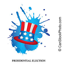 presidential election with hat over white background. vector