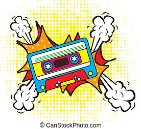 cassette - colorful cassette, pop art style vector...