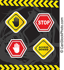 stop signs with hands over grunge background. vector...