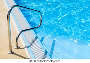 Stainless pool railing - Stainless steel railing of a pool...
