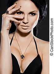 elegant fashionable woman with jewelry