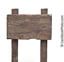 木制, 簽署, 被隔离, 白色