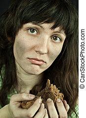 mendigo, mulher, pedaço, pão