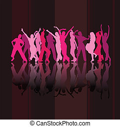 Pink dancing silhouettes