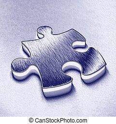 Blue jigsaw piece - One blue jigsaw puzzle piece...