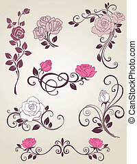 Decorative roses - Decorative vector elements with roses for...