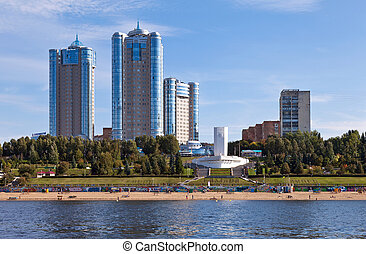 "View of the city of Samara in the Volga River in the ""Boats"""