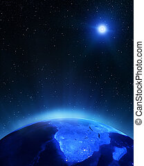 Africa under moon Elements of this image furnished by NASA