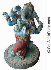 Statue of the hinduist god Ganesha on a white background