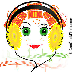 funny face of the girl with headphones
